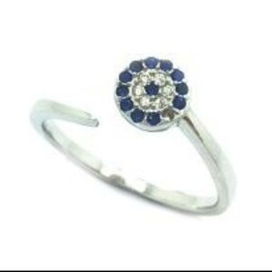 Jewelry - EYE CZ STERLING SILVER CUFF RING , ADJUSTABLE RING